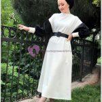 Kolları Siyah Beyaz Tesettür Elbise