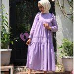 Lila Renk Tesettür Elbise
