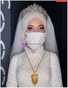Tesettürlü Gelinlik Maske