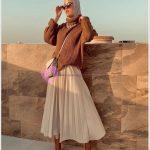 Yabancı Tesettür Modası Pileli Etek Kazak