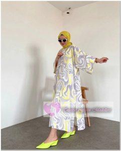 Fosfor Renkli Tesettür Elbise 2021