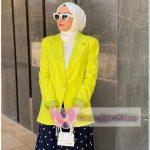 Sarı Renk Tesettür Blazer Ceket